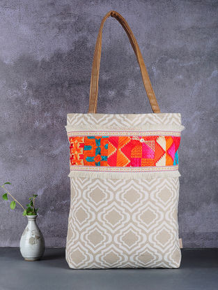 White-Brown Phulkari Cotton Canvas Tote