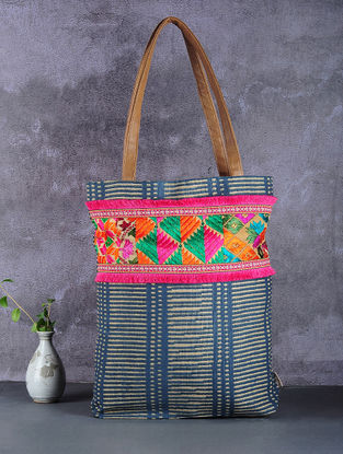 Green-Brown Phulkari Cotton Canvas Tote