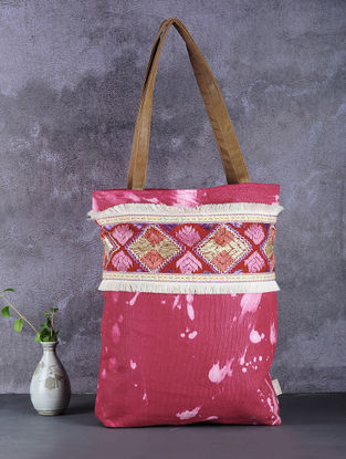 Red-Pink Phulkari Cotton Canvas Tote