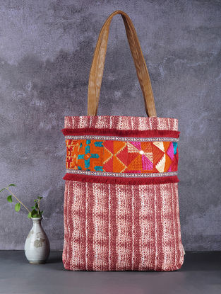 Maroon-White Phulkari Cotton Canvas Tote