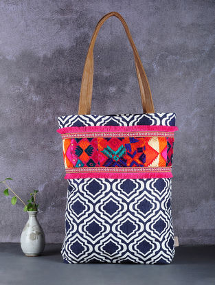 Blue-White Phulkari Cotton Canvas Tote