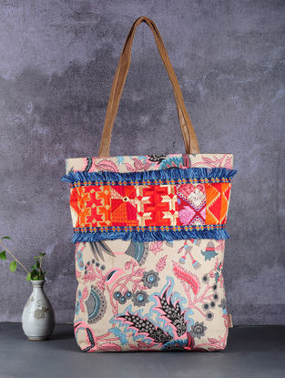 Beige-Multicolored Phulkari Cotton Canvas Tote