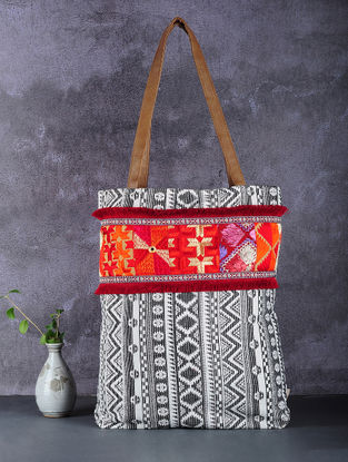Black-White Phulkari Cotton Canvas Tote