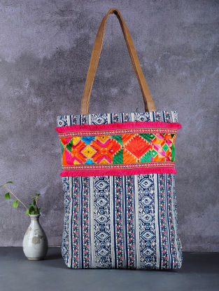 Blue-Multicolored Phulkari Cotton Canvas Tote