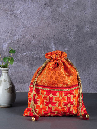 Orange-Maroon Phulkari Silk Potli