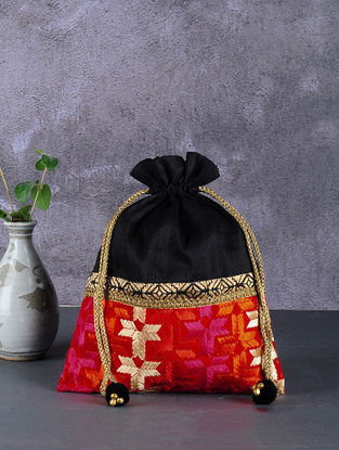 Black-Multicolored Phulkari Silk Potli