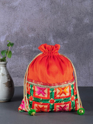 Orange-Multicolored Phulkari Silk Potli