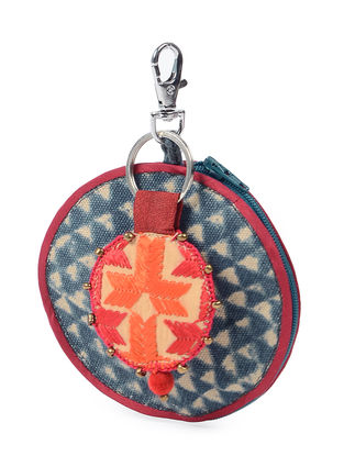 Green-Brown Phulkari Cotton Canvas Coin Pouch with Keychain