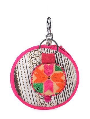 White-Brown Phulkari Cotton Canvas Coin Pouch with Keychain