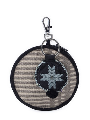 Blue-White Phulkari Cotton Canvas Coin Pouch with Keychain