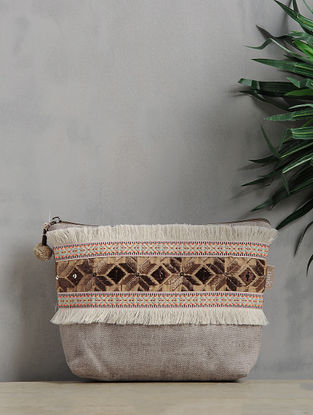 Grey-White Phulkari Cotton Canvas Pouch with Fringes