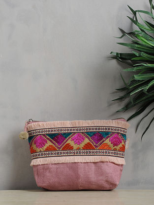 Pink-Multicolored Phulkari Cotton Canvas Pouch with Fringes