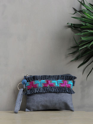 Blue-Multicolored Phulkari Cotton Canvas Pouch with Fringes