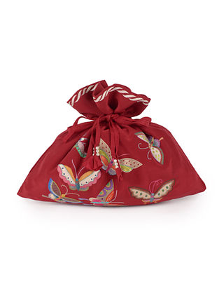 Red-Multi-Color Butterfly Crepe Silk Parsi Gara Potli