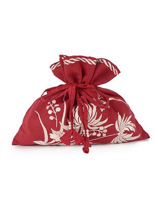 Red-Ivory HK Chrysanthemum Crepe Silk Parsi Gara Potli