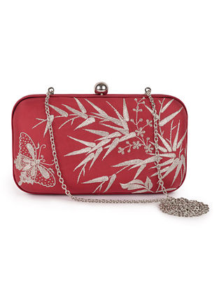 Red-Silver Bamboo with Butterfly Crepe Silk Parsi Gara Box Clutch
