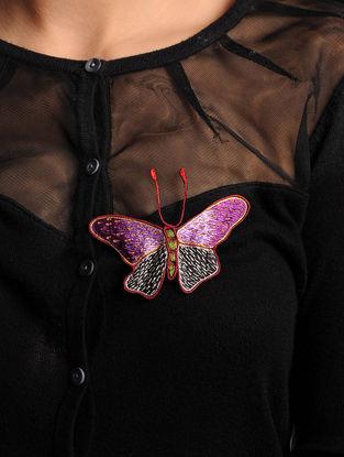 Purple-Black  Crepe Silk Parsi Gara Brooch