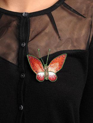 Orange-Red  Crepe Silk Parsi Gara Brooch