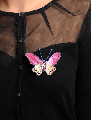 Pink-Beige  Crepe Silk Parsi Gara Brooch