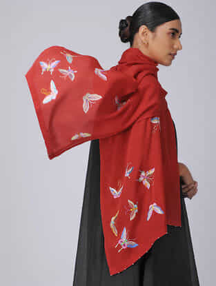 Red-Blue Parsi Gara Embroidered Crepe Stole