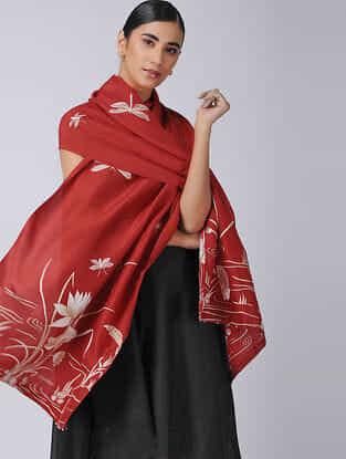 Red-Ivory Parsi Gara Embroidered Raw Silk Stole