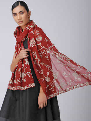 Red-Ivory Parsi Gara Embroidered Georgette Stole