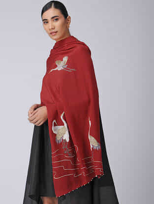 Red-Ivory Parsi Gara Embroidered Crepe Stole
