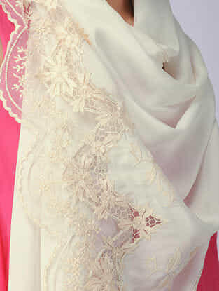 Ivory Parsi Gara Embroidered Crepe Stole