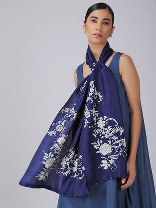 Blue-Ivory Parsi Gara Embroidered Raw Silk Stole