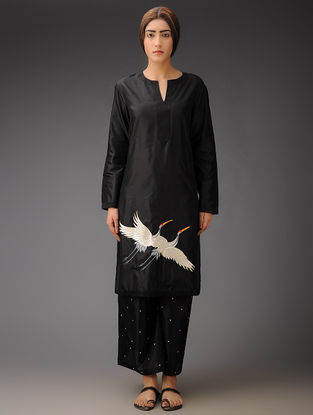 Black Crane Crepe Silk Parsi Gara Tunic