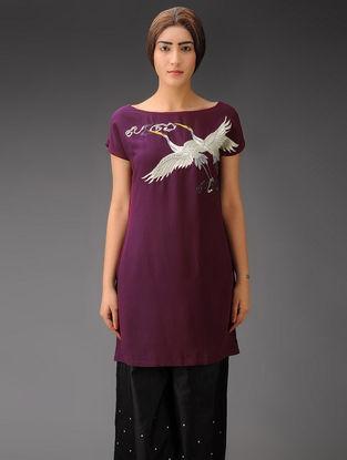 Wine-Silver Cranes and Clouds Crepe Silk Parsi Gara Tunic