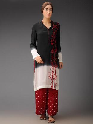 Black-Ivory-Red Bamboo Crepe Silk Parsi Gara Tunic