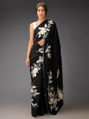Black-Silver Rose Placement Crepe Jacquard Parsi Gara Saree