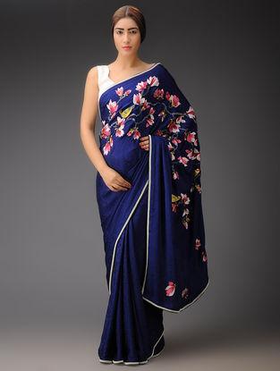 Blue-Multi-Color Magnolia Pallu Crepe Jacquard Parsi Gara Saree