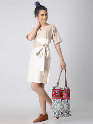 Ivory-Beige Cotton Linen Dress with Belt