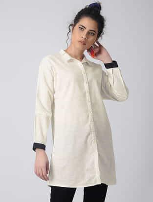 Ivory-Black Button-down Cotton Linen Long Shirt