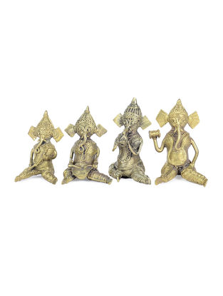 Dhokra Brass Table Top Accent with Musician Ganeshas Deisgn (Set of 4)