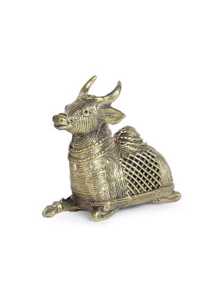 Dhokra Brass Table Top Accent with Sitting Bull Design