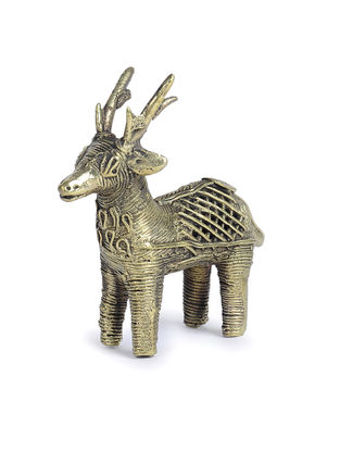 Dhokra Brass Table Top Accent with Deer Design