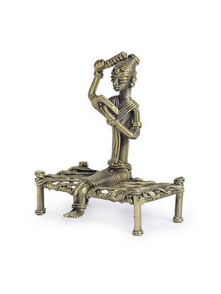 Dhokra Brass Table Top Accent with Lady Reading Book Design