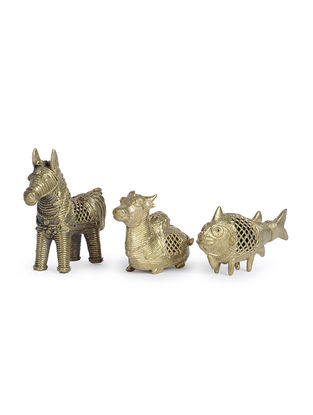 Dhokra Brass Table Top Accents (Set of 3)