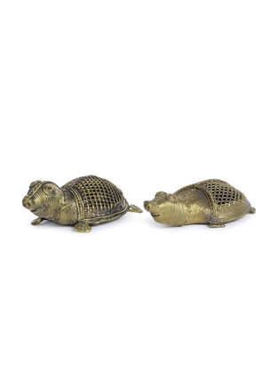 Dhokra Brass Table Top Accents with Tortoise Design (Set of 2)