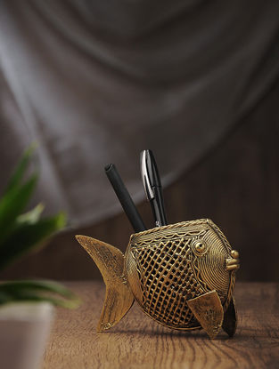 Dhokra Brass Pen Stand with Fish Design (L:5.6in, W:1.5in, H:3.5in)