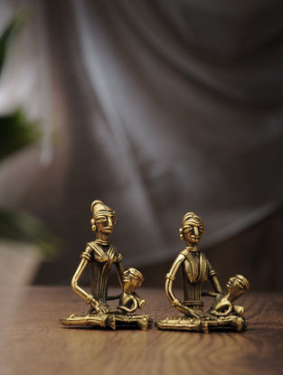 Dhokra Brass Table Top Accent with Sitting Mother Child Lady Design (Set of 2) (L:2.1in, W:2.3in, H:3.3in)