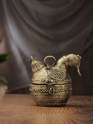 Dhokra Brass Decorative Duck Box (L:5.5in, W:4.5in, H:5in)