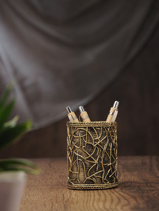 Dhokra Brass Pen Stand (L:3in, W:3in, H:3.7in)
