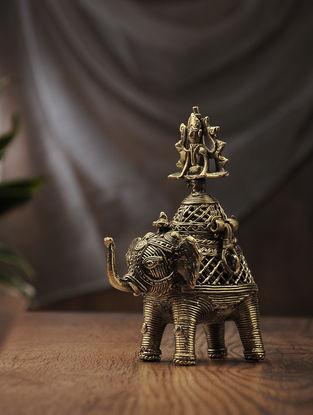 Dhokra Brass Decorative Gaja Gouri Box (L:5.7in, W:3.3in, H:7.1in)