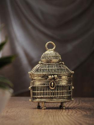 Dhokra Brass Decorative Club box (L:2.7in, W:4.2in, H:6.5in)