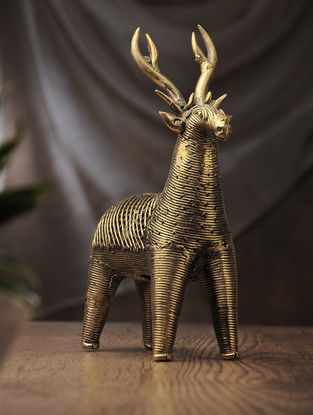 Dhokra Brass Table Accent with Net Deer (L:8in, W:3in, H:10in)
