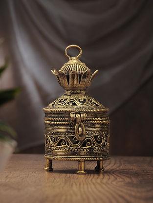Dhokra Brass Decorative Flower Box (L:4.7in, W:4in, H:7.6in)